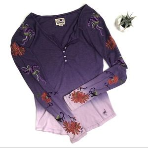 [Lucky Brand] Embroidered Ombre Thermal Size Large